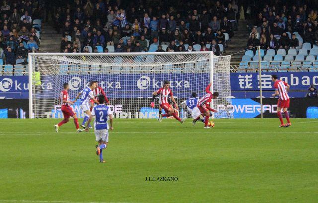 Anoeta F.Zelaia.Penalty contra el Atletico de Madrid.2016-11-05
